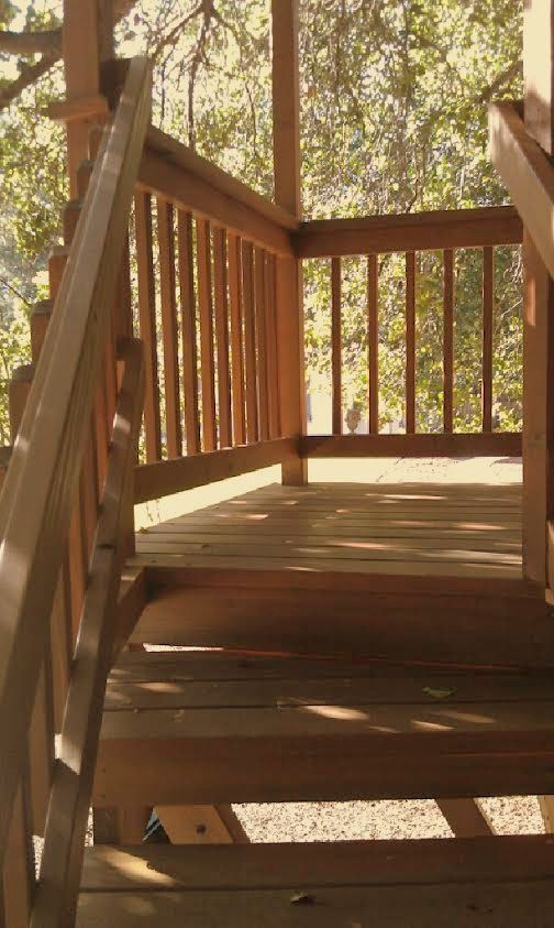 REDWOOD STAIRS FOR TREE HOUSE LEAD TO DECK