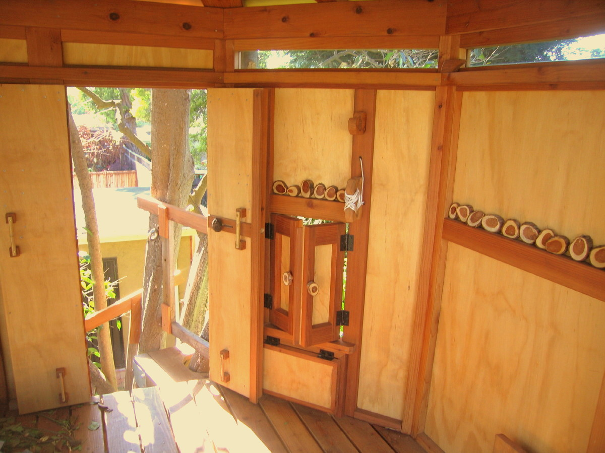 Kate's Tree Yurt, doors and bucket window with sashes ajar