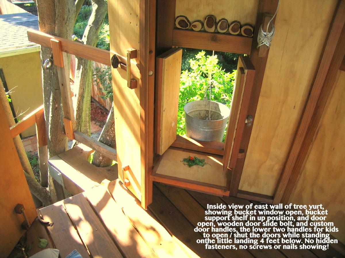 Inside view of east wall of tree yurt showing bucket window open bucket support & Tree Yurt Treehouse  Oakland TreeYurt   builder John Lionheart pezcame.com