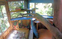 Original tree house, Interior - View from sitting area to northeast corner - study area